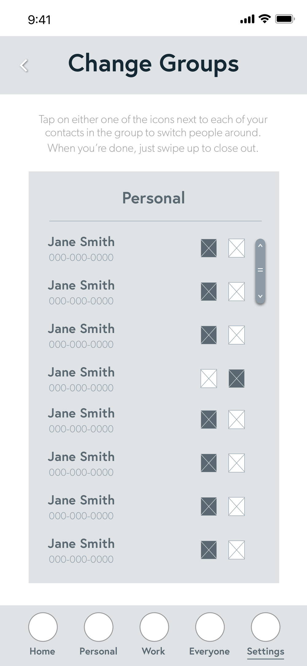 An example of how a user can switch a contact into another group