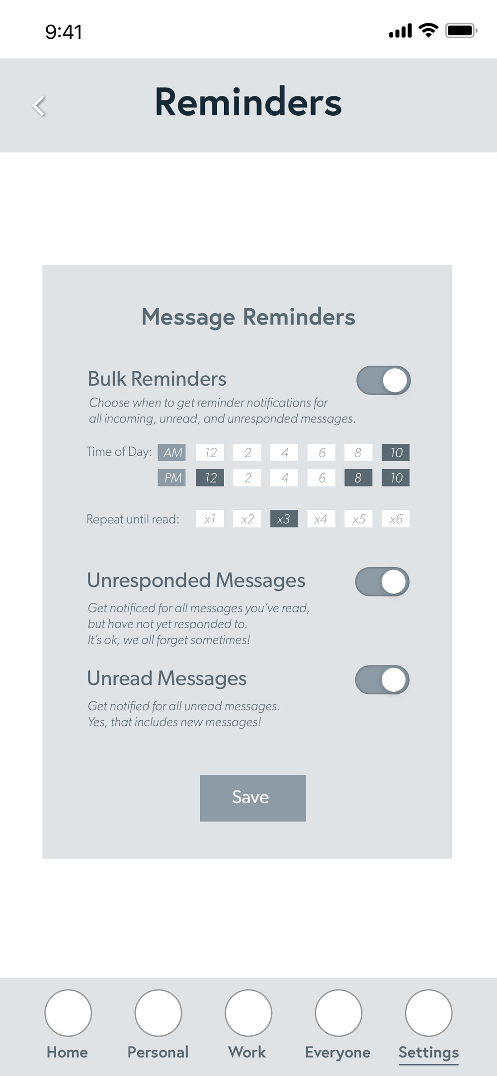The notification settings are one of the main components of this messaging app. One key factor is the bulk reminder.