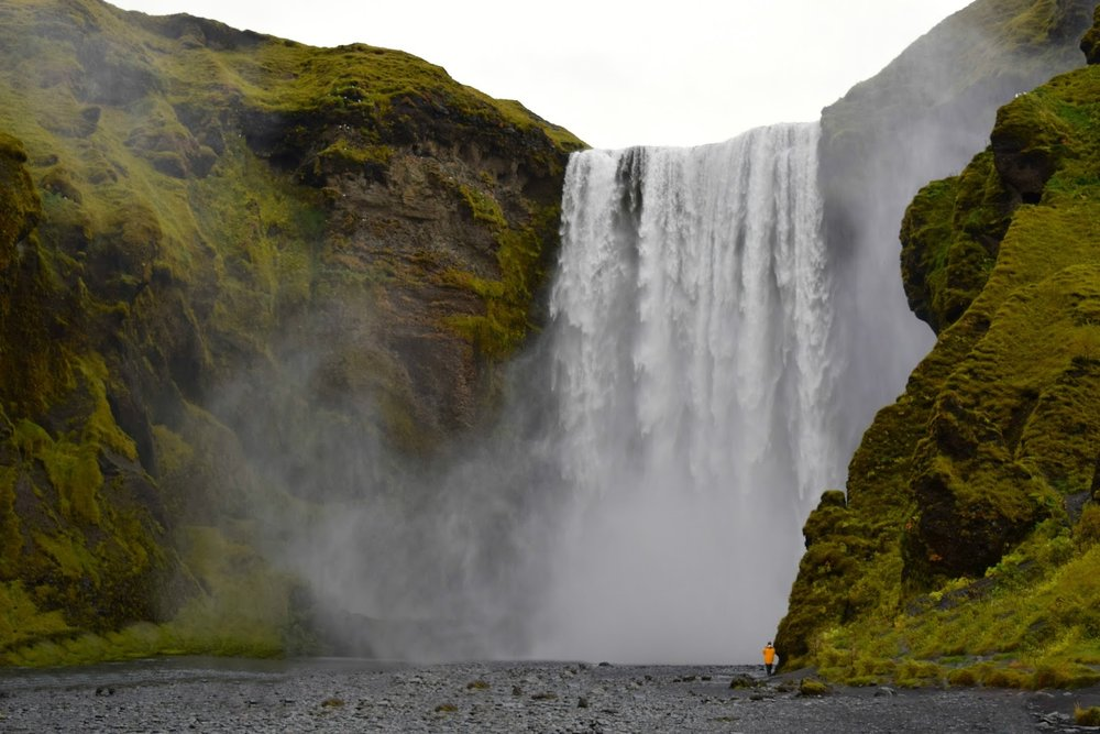 Skógafoss with a lot of people photoshopped out