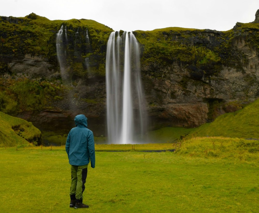 Michael in front of Seljalandsfoss with lots of people photoshopped out.....