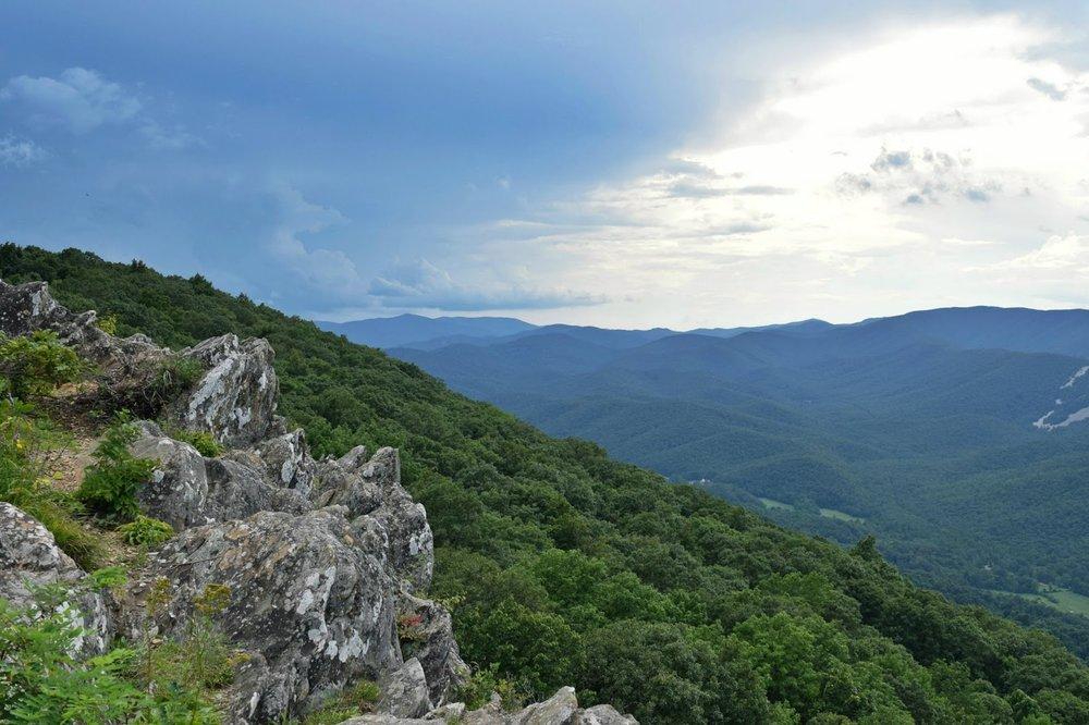 An overlook on the Blue Ridge Parkway in Virginia