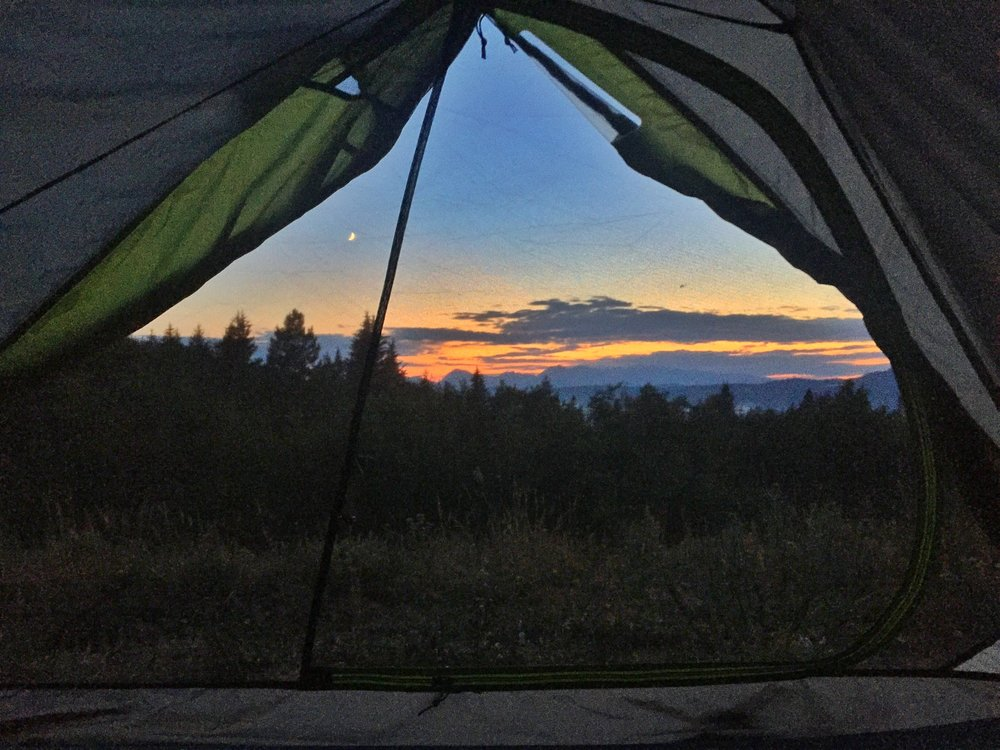 A cell phone snap from our tent view outside Grand Teton NP