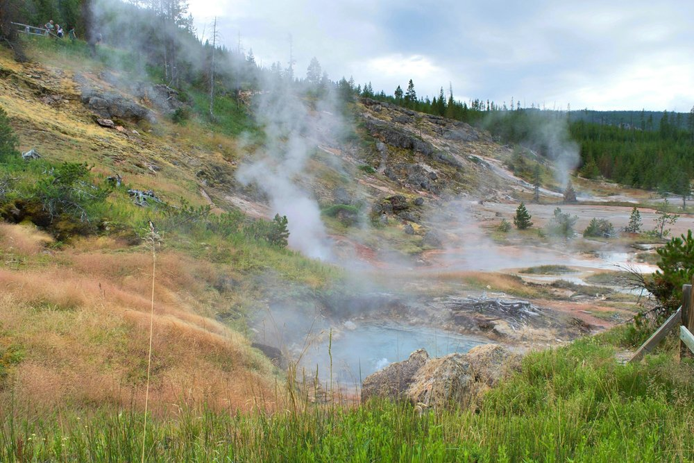 Some of the hot pools from Artists Paintpots in Yellowstone NP