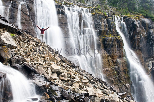 Stock photo of Seven Veils Falls at the far end of Lake O'Hara