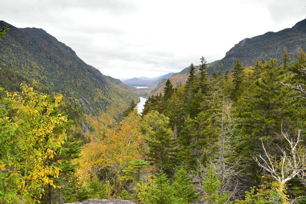The second outlook we came to, right above the main cliffs & the first view of the Ausable Lakes