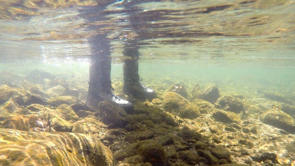 Wading boots underwater.