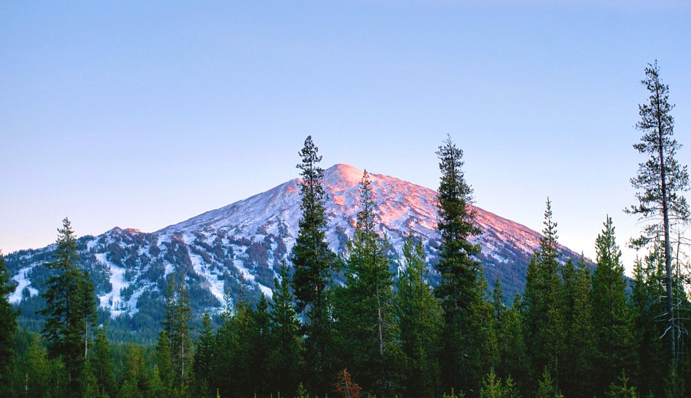 Mount Bachelor in the setting sun.
