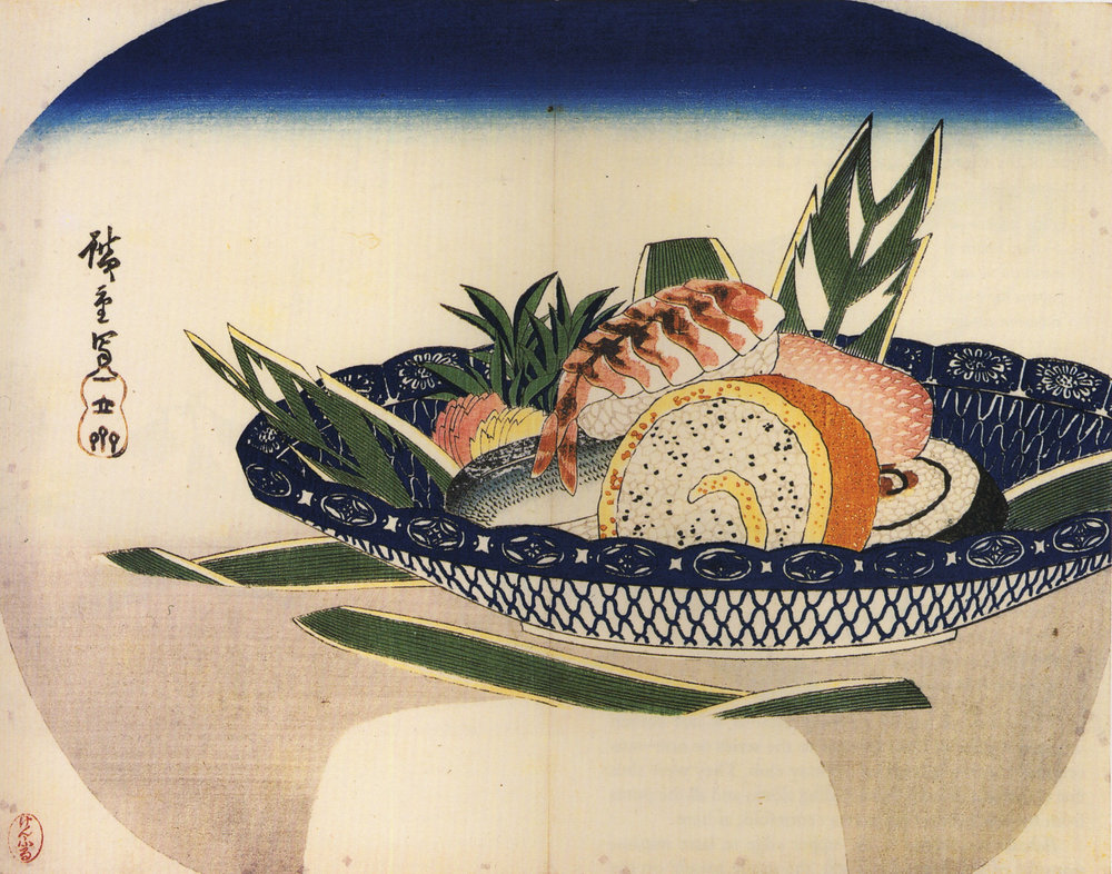 Bowl of Sushi painting by Hiroshige - photo credit: wikipedia