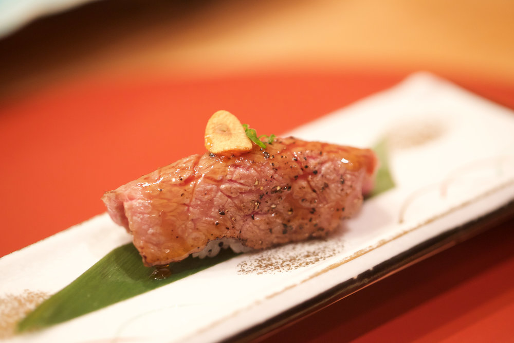 wagyu beef served aburi and with garlic