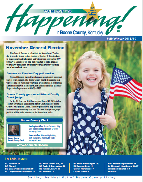 WHAT'S HAPPENING!™ IN BOONE COUNTY - Click on a link to open or download your issue of What's Happening!™ in Boone County.BOONE COUNTY NEWSLETTERS:> Fall/Winter 2018/19> Spring/Summer2018> Winter/Spring 2018> Summer 2017> Fall/Winter 2017> Winter/Spring 2017> Fall 2016> Summer 2016> Winter/Spring 2016> Fall/Winter 2015> Summer 2015> Winter/Spring 2015