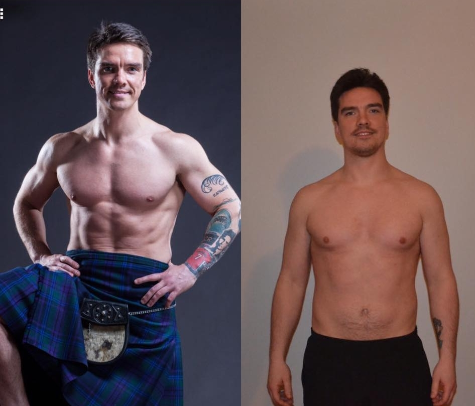 Jeff currently (left) and Week 1 of training (right)
