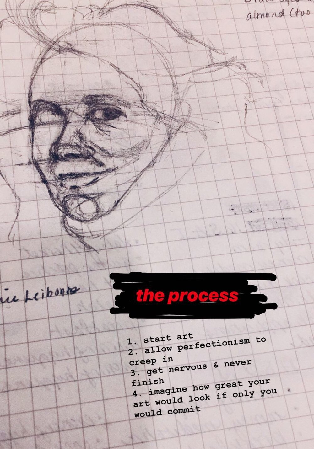Beginner artists: gripe about perfectionism via unfinished art on Instagram.  (@t.spellen)