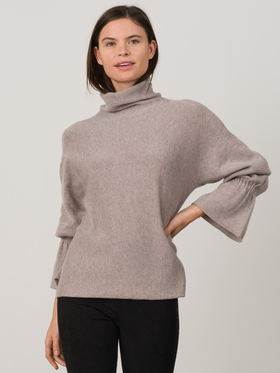 Smocked Cuff Funnel   Sweater $385