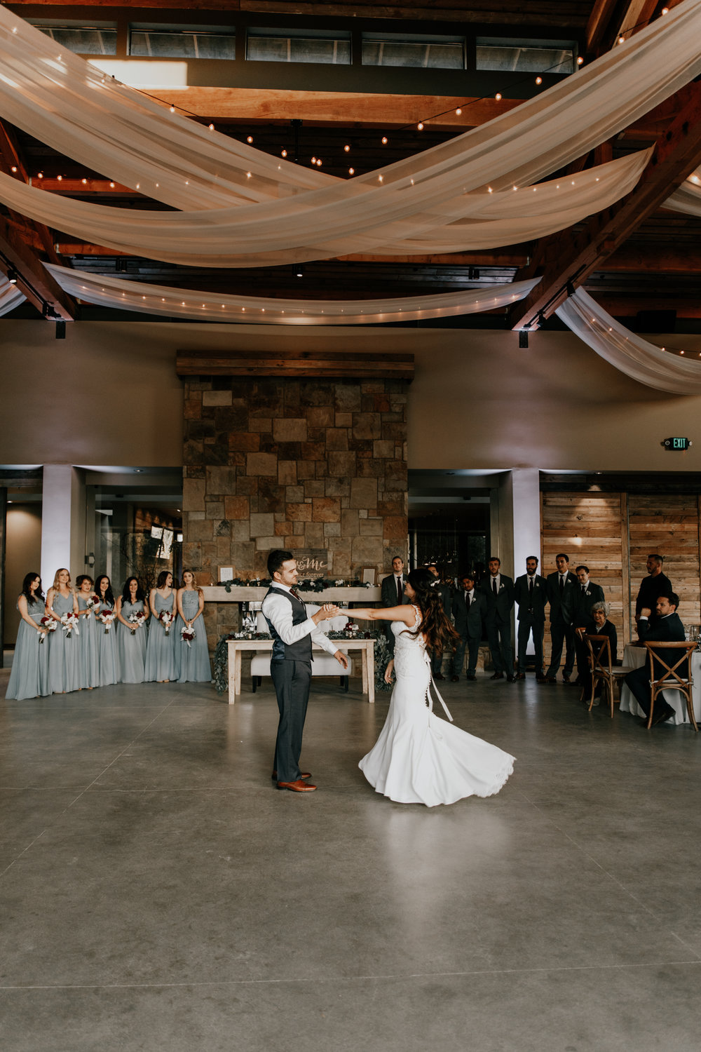 First dance under the hanging lights | San Diego wedding photographer