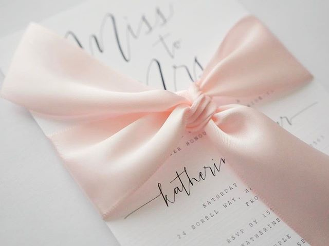 Close up detail of bridal shower invitations #invitation #designer #design #graphicdesign #bow #ribbon #bridalshower #bridal #graphic #graphicdesigner #calligraphy #wedding #shanicelovedesigns
