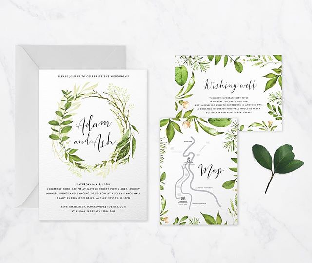 Wedding invitation set for a nice Autumn wedding 🌿#invitation #design #graphicdesign #nature #leaves #wedding #autumn #invitationdesign #illustration #watercolour #floral #shanicelovedesigns