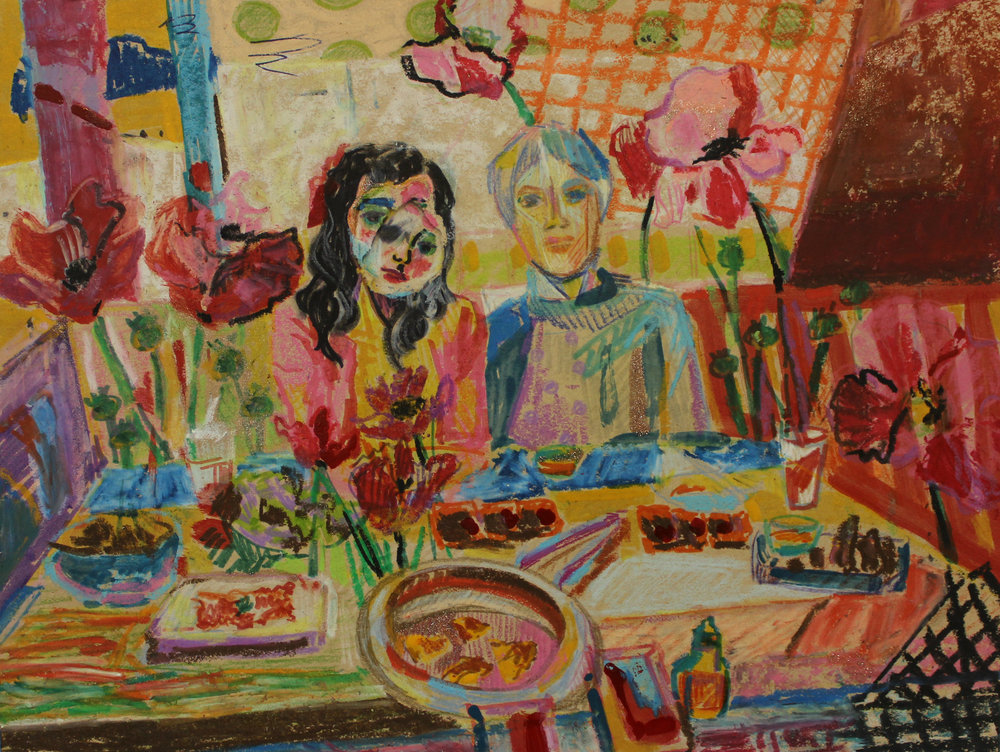 LRDinner with a Lover_2018_mixed media_9x12in.jpg