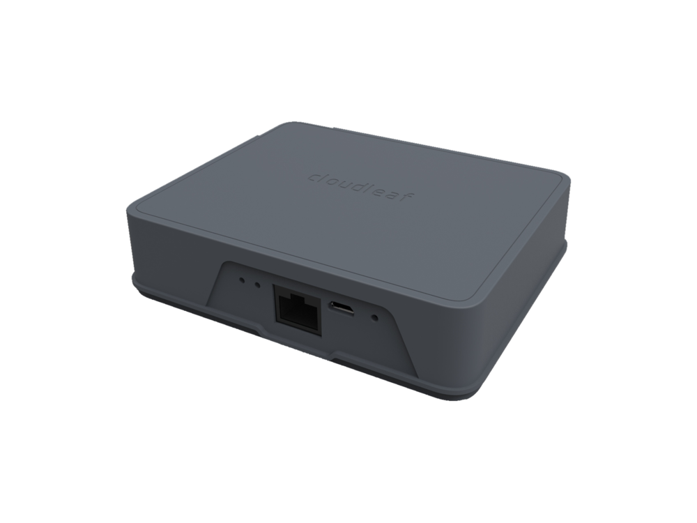 Cloudleaf Gateway™ - Lightweight bidirectional gateway to the cloud. It communicates with sensors using Bluetooth Smart and with the cloud via Wi-Fi or Cellular. The gateway creates a mesh for capturing sensor data.•  WiFi/cellular connection to cloud•  70,000 sq. ft. indoor space, non-line-ofsight (NLOS)•  High capacity with seamless network handoffs