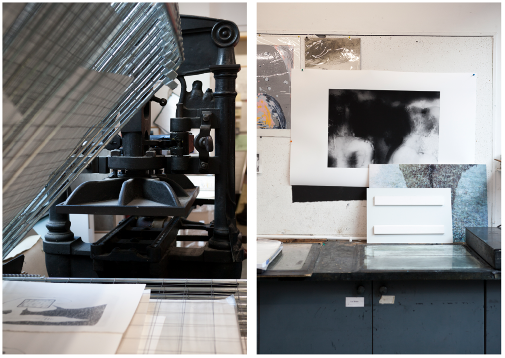 LEFT: A drying rack with a cast iron press behind it; the press is a 19th-century design that is still produced and widely used to this day. RIGHT: Members often put their proofs on the walls for other members to comment.