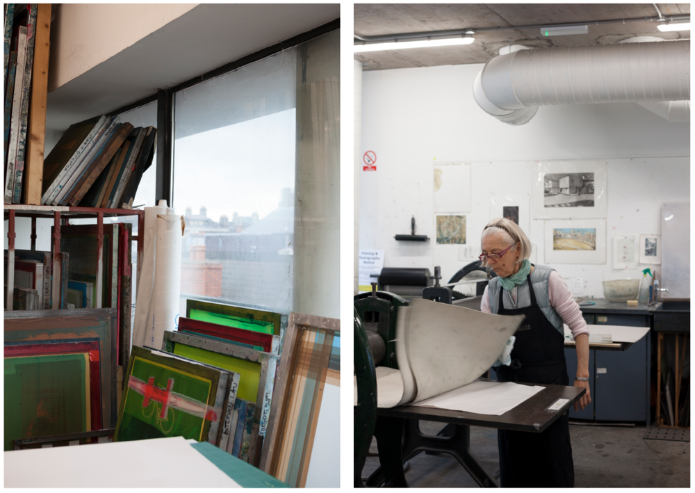 The screenprinting floor on the third floor has views over Temple Bar's rooftops. Artist Eimhin Farrell on the etching floor working a copper plate.