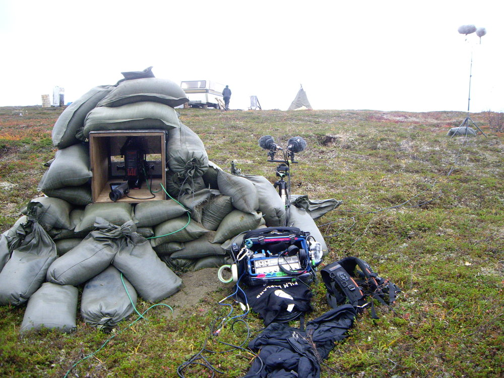 Recording the explosion during the shooting of Viimased  (The Last Ones) in Skojold Leir (Norway). Photo by Quino Piñero