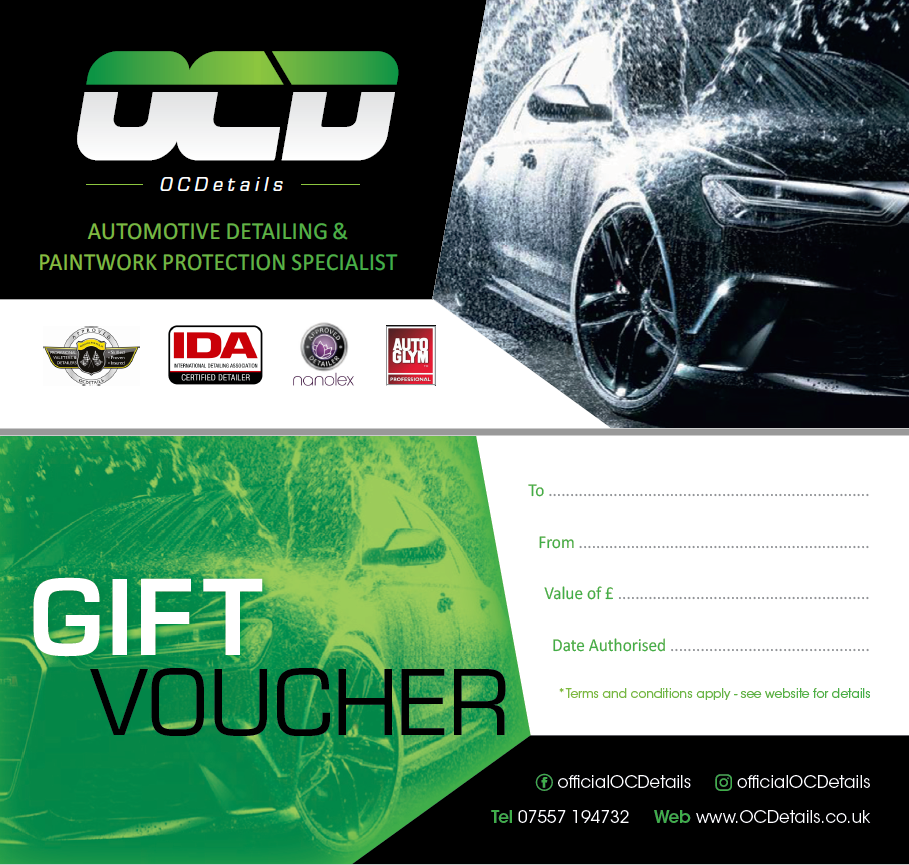 Introducing OCDetails Gift Vouchers! 12 month redeemable time limit and custom values to suit your budget. Great gift for a loved one or a friend.