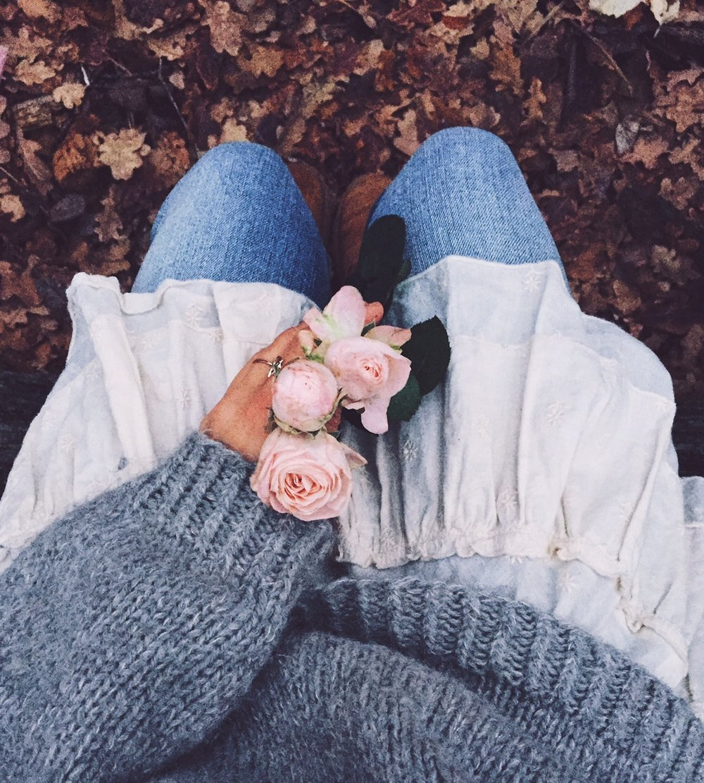 faded blue jeans and pink flowers