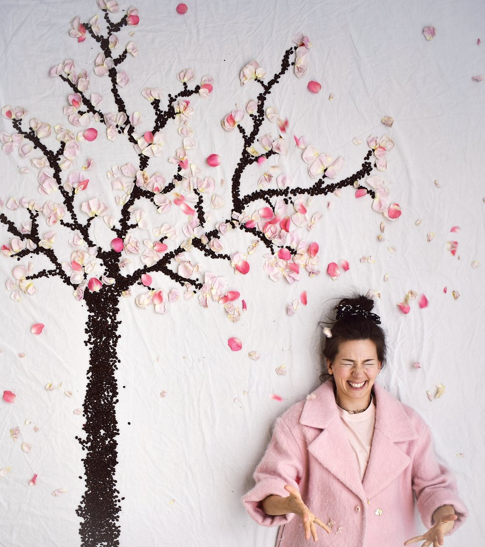 6 comforting thoughts about getting older- Cherry blossom tree and pink Spring coat