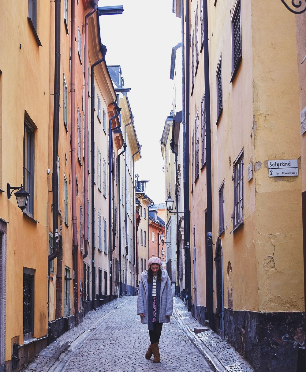 The Most Instagrammable Spots in Stockholm- Gamla stan narrow cobble stone street