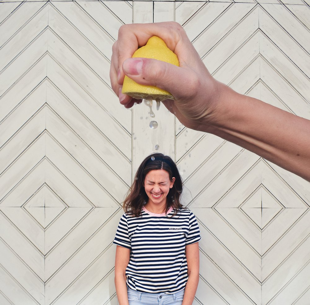 Fun Self Portrait Ideas- Forced perspective Lemon Squeeze shower