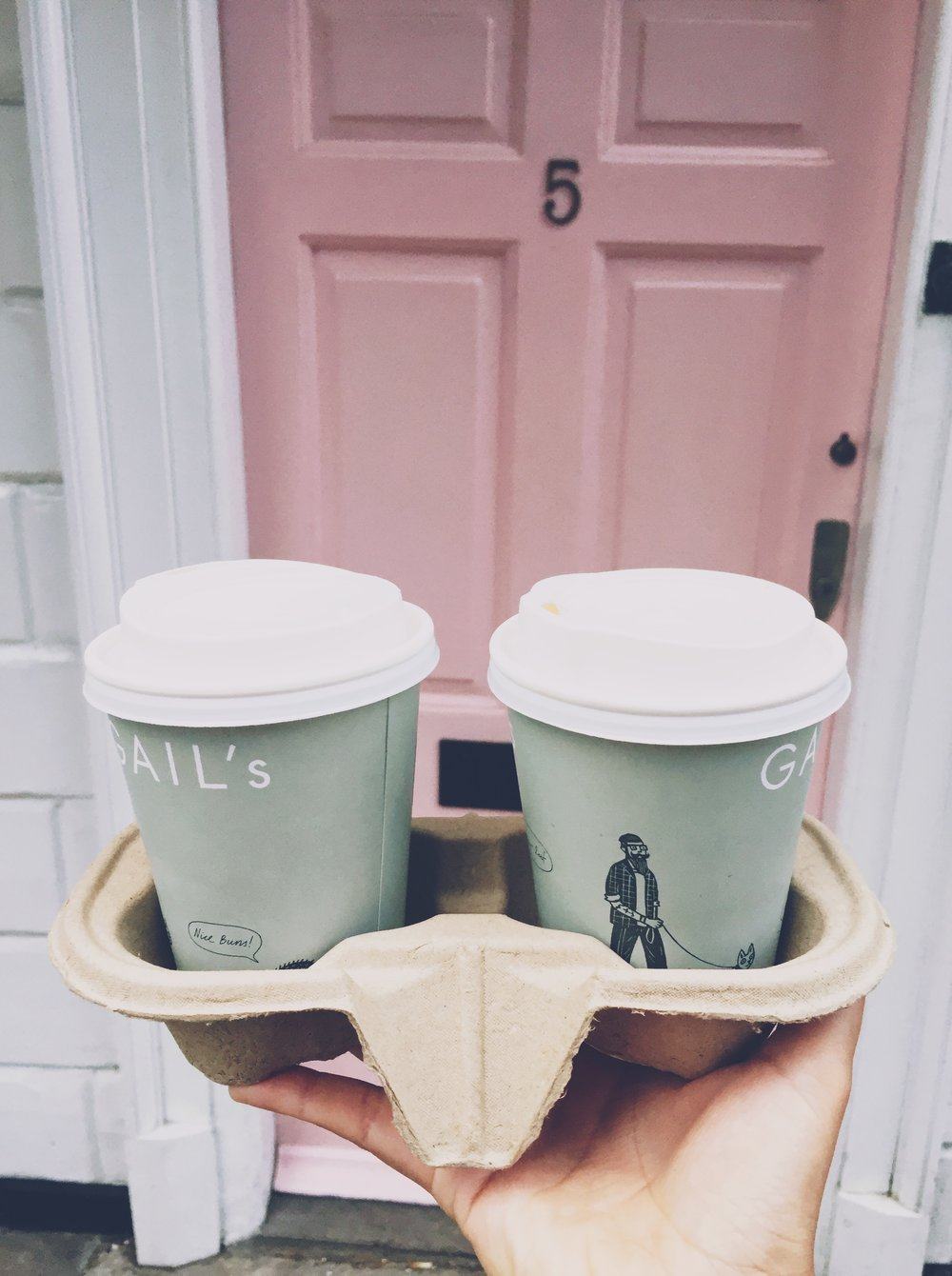 Coffee and pink doors of London