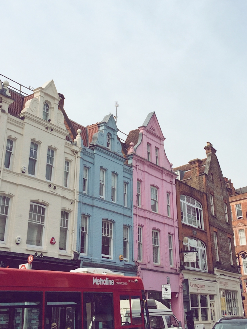 Pastel houses in Hampstead, London