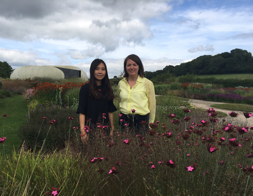 Sichong Xie and Fiona Haines, 2017 Residency Exchange participants in Oudolf Field, Hauser & Wirth Somerset