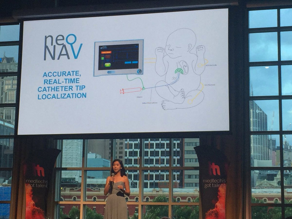 NAVi Co-Founder Wei Sue delivering the winning pitch at the Medtech's Got Talent National Finals Gala in Melbourne, Australia.