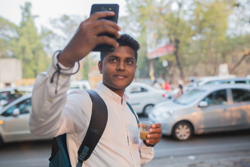 Rohan, a computer science student in Pune, snaps a quick selfie