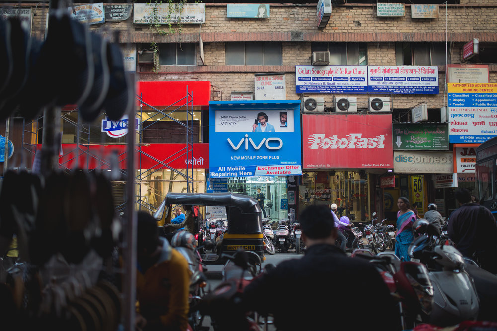A Vivo mobile repair shop in the heart of Pune.