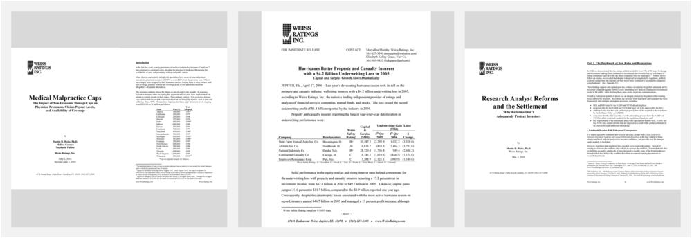 White papers and quarterly financial sector reports from Weiss Ratings