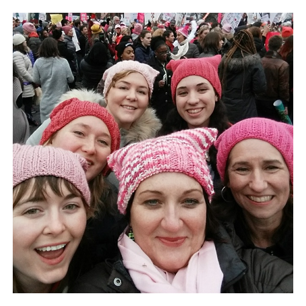 Ellen Yui, Molly Devlin and friends at the 2017 Women's March