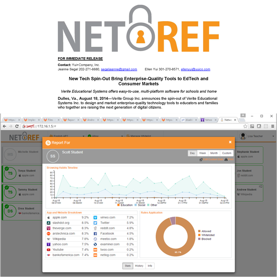 LAUNCHES   The launch of  NetRef , an internet management tool for teachers that keeps children safe online, for Verite Educational Systems