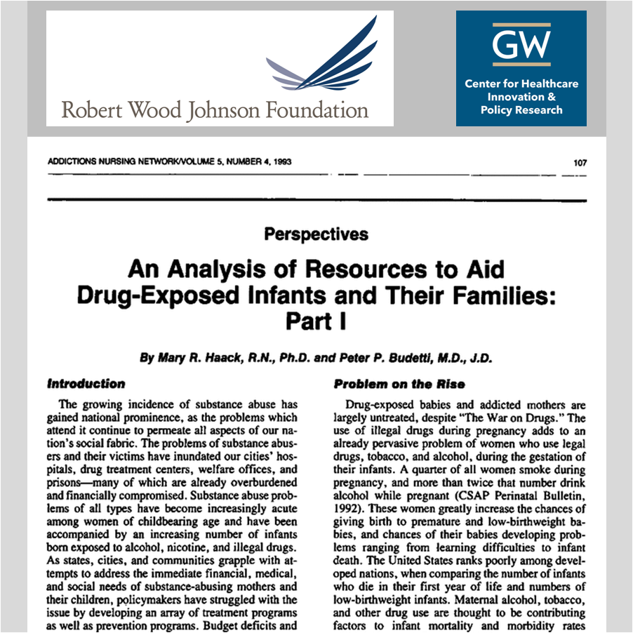 STUDY PROMOTION   Release of a pivotal study on treatment for drug-addicted mothers in prison by George Washington University's Center for Health Policy Research and funded by the Robert Wood Johnson Foundation