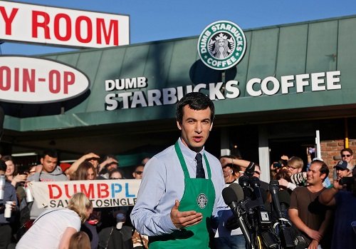 Comedian Nathan Fielder speaks to the press about his Dumb Starbucks Coffee satire project in 2014.