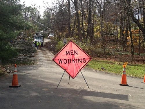 "The US construction industry employs 10.3 million workers. This road sign, which reads ""MEN WORKING"", ignores the 5% of women working in the industry as of 2016 (this excludes the 4.1% of women working in sales and office roles). [1]"