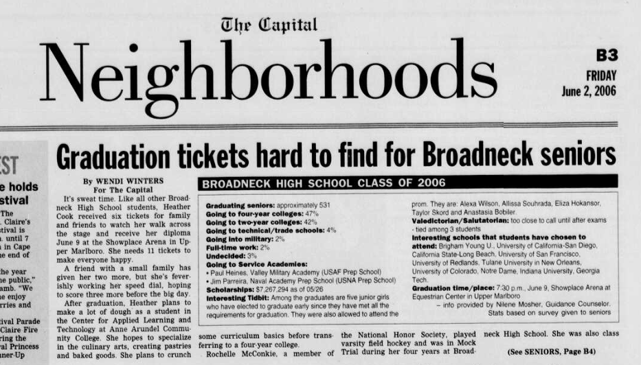 An article written about the author's high school by the late Capital Gazette reporter Wendi Winters.