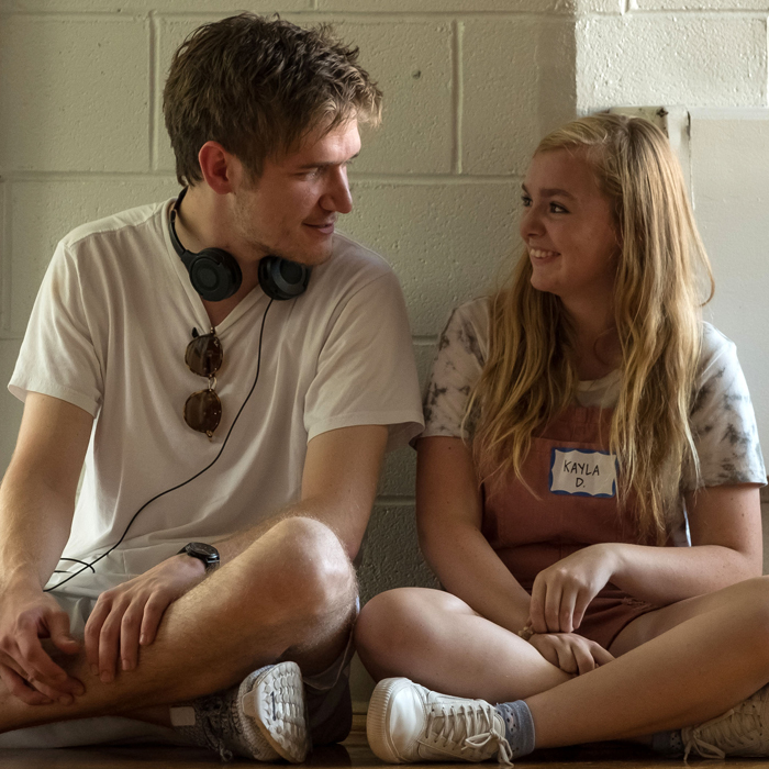 Bo Burnham (Left) and Elsie Fisher (Right) on the set of  Eighth Grade (Linda Kallerus)