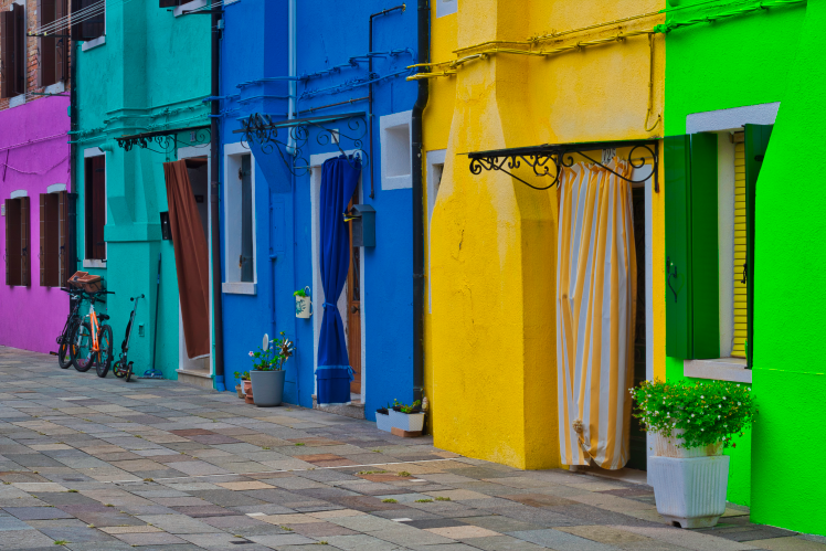 The vibrant houses of Burano, Italy are a photographer's dream come true.   Photo: Courtany Schick