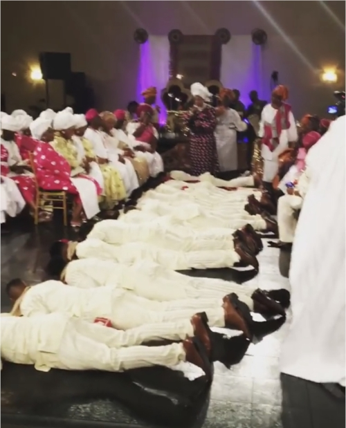 Groom's Entrance - The groom and groomsmen prostrate before the bride's family to greet them as a way of showing them respect and honor. The groomsmen then get up, and the groom prostrates again while the bride's mother and father blesses him.