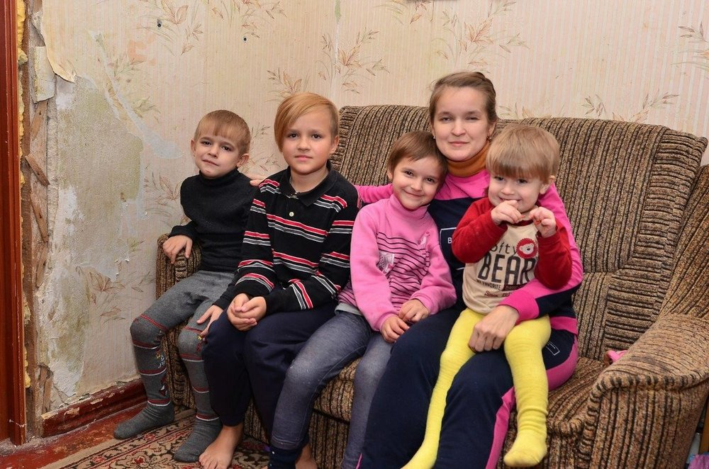 Olga and her four children. -