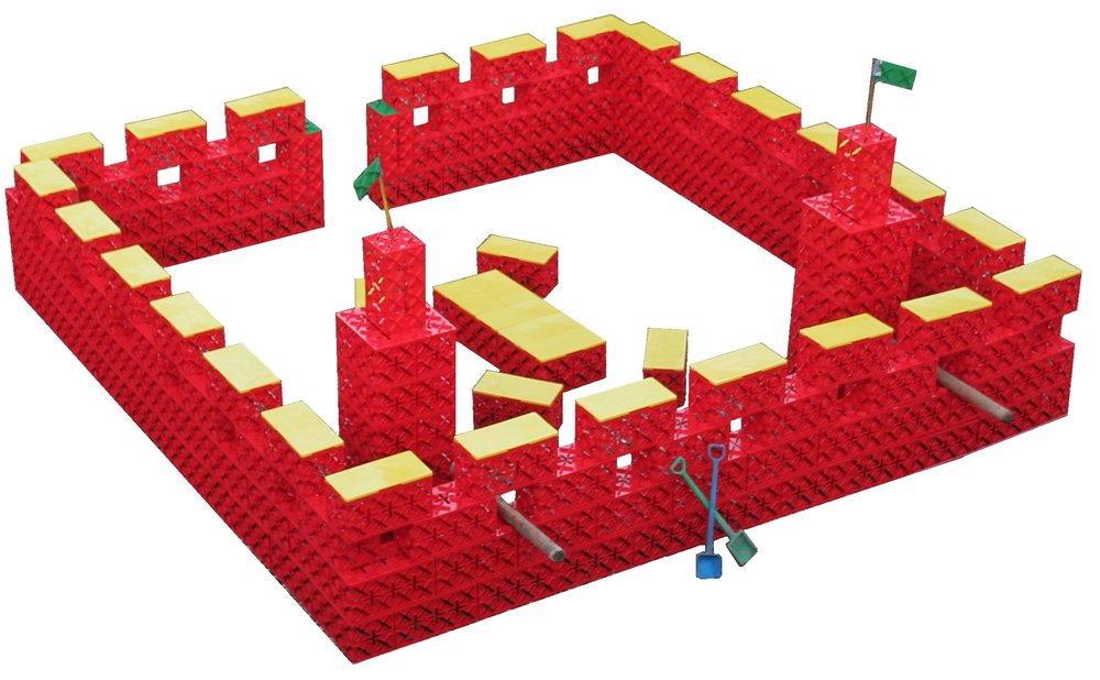 RIDDERBORG 135 KLODSER. - Jo flere klodser jo større byggerier. Her er der bygget en kæmpe borg, der har plads til alle riddere, prinsesser, konger og dronninger. Borgen måler 4,5 x 4,5 meter.