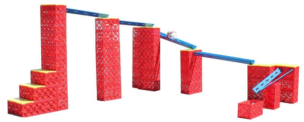 KUGLEBANE 45 KLODSER & 10 X STICK - Kan du bygge en kuglebane der fungerer og hvor bolden ryger i