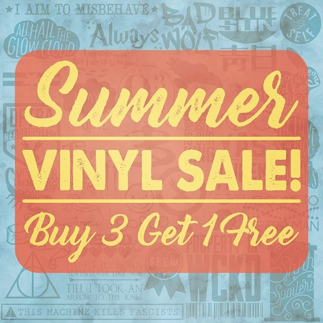 "Summer is finally here which means ☀️ SUMMER VINYL SALE ☀️Buy 3 vinyls and get 1 FREE now through the end of summer! Must purchase the ""Summer Vinyl Sale"" listing to get this price! No coupon code needed! Link in bio. ☀️💛☀️"